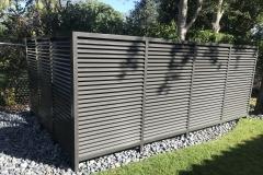 modern horizontal tubing garbage cover fence